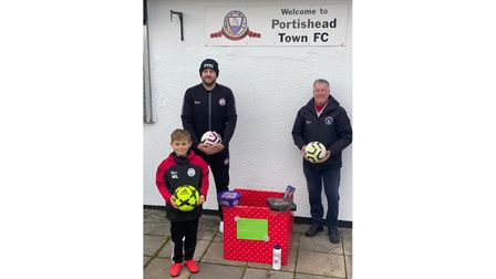 Portishead Town with three generations of the club supporting the Christmas Cheer initiative
