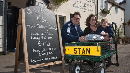Jenny Box,Tom Stephen and their son Stan from The Old Inn pub, are doing food deliveries to villager