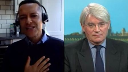 Labour's Clive Lewis (L) and Conservative MP Andrew Mitchell on Politics Live