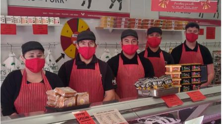 Staff with facemasks at Palmers Butchers