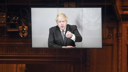 Prime Minister Boris Johnson appearing via video link from 10 Downing Street