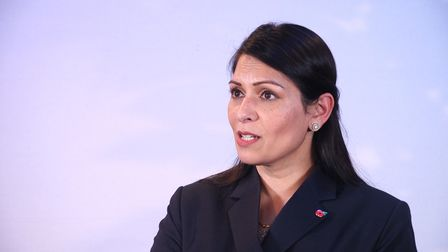 Video grab of Home Secretary Priti Patel who has escalated the UK terror threat level from Òsubstant