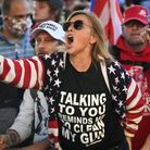 A Donald Trump supporter yells at counter-protesters outside the USSupreme Court during the Million MAGA March in Washington