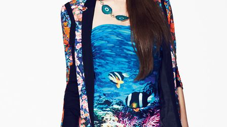 Marine inspired prints. Limited Collection jacket £59, swimsuit £29.50, bag £19.50, necklace £19.50