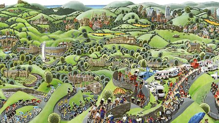 The official painting for the Tour de France Grand Depart