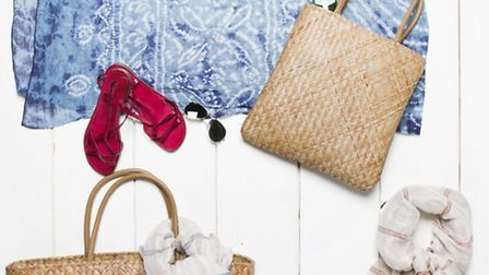 Hand-dyed beach wrap £45, straw shopper £55, hand-dyed leather sandals £89, St Ives stripe scarf £45