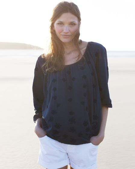 Burras embroidered blouson; a beautifully embellished top with button-back keyhole detail and hand-e