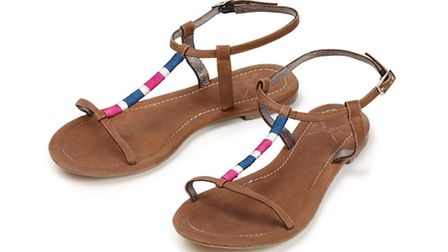 Pink and blue leather beach sandals £45 from Crew Clothing