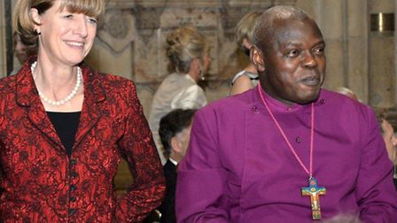 The Hon Mrs (Charles) Dent High Sheriff of West Yorkshire with the Archbishop of York, Dr John Senta