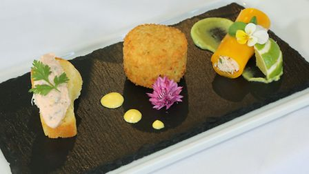 Celebration of Yorkshire Fish; Smoked Kilnsey Trout Pate, Scarborough Woof Fish Cake and Whitby Cr