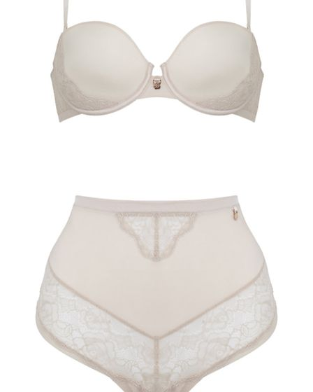 Rosie for Autograph plunge champagne bra £25; high waist knicker £14 from Marks and Spencer