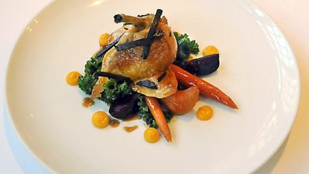 Chicken breast, black truffle, beetroot, carrot, swede croissant, kale, butternut squash, honey and