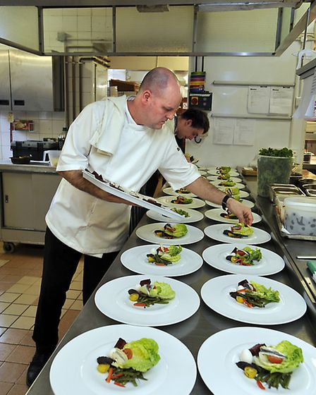 Head Chef Patrick Bardoulet preparing Yorkshire Life Business Women's Lunch at the Black Swan, Helms