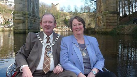 Knaresborough mayor Andrew Willoughy on a boat on the Nidd with his wife Christine, the mayoress