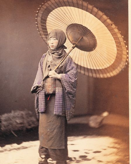 Japanese girl with parasol c 1864-1867