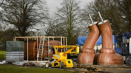 Heavy lifting gear is used in the installation at Yorkshire Sculpture Park