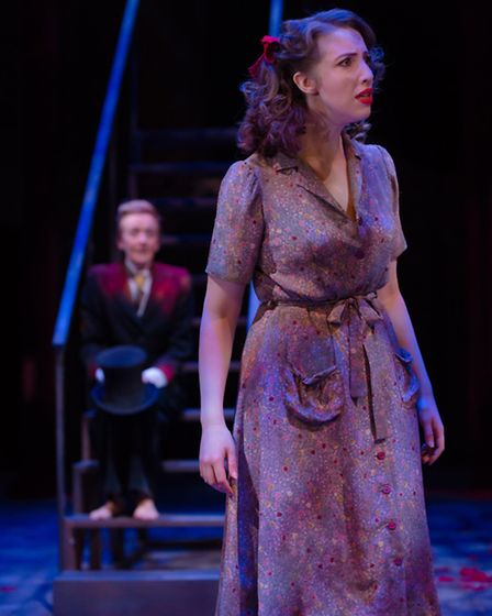 Laura Riseborough as Helena is watched by Puck, played by Lucy Ellinson