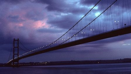 The Humber Bridge south tower from the Hessle foreshore by Gordon Ratcliffe
