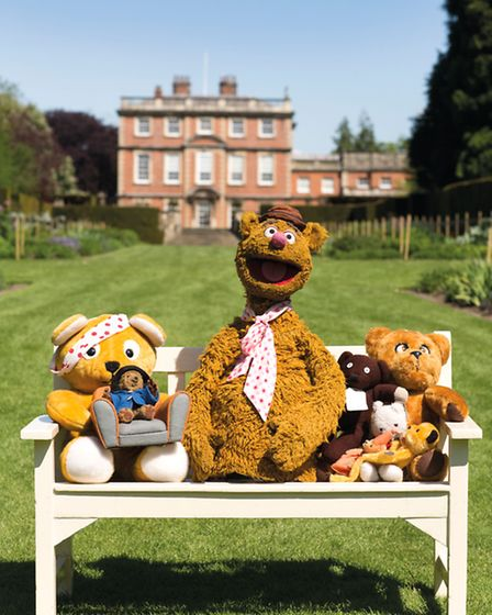 Fozzy Bear and friends in the grounds of their new home at Newby Hall, near Ripon