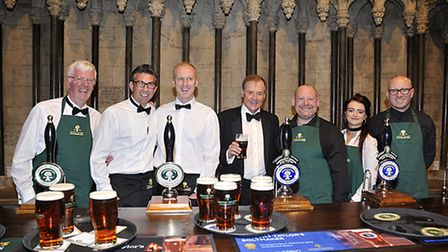 Charles Dent (centre) chairman of Timothy Taylor Brewery and chair of York Minster Fund with from le