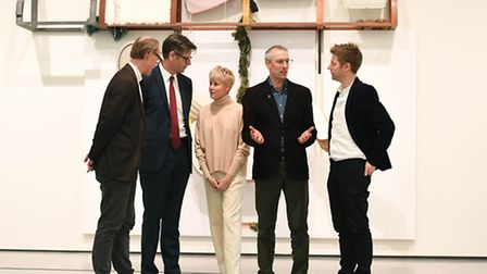 Helen Marten (centre) winner of the inaugural Hepworth Prize for Sculpture with (left to right) Will