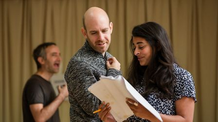 Robert Hastie in rehearsals with natalie Dew playing Pat Green in the production of The Code Photo R