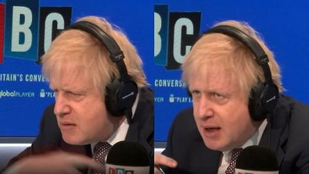 Boris Johnson makes the signal to Nick Ferrari after being challenged on social care. Photograph: LB