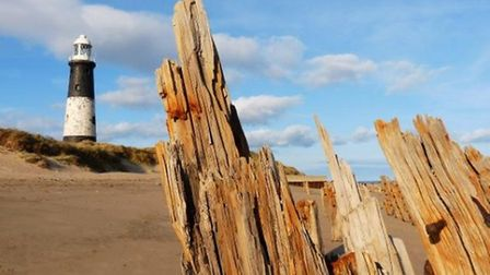 Eroded groynes 'pray' to the lighthouse by Emma Dodsworth