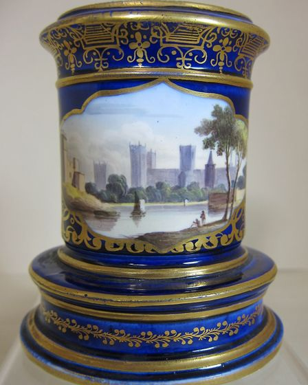 Spode porcelain spill vase with hand-painted view of York Minster, c 1820, 4.5 inches diameter. Pri