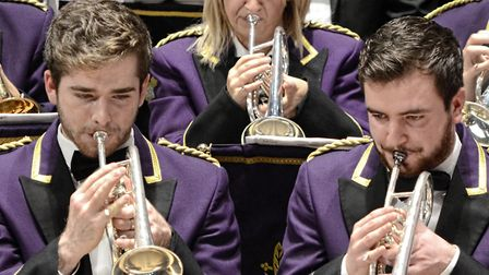 A big noise in Brighouse: Brighouse and Rastrick Band, The cornet trio are Dominic Longhurst, Hayley