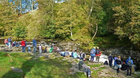 Salmon watchers at Stainforth