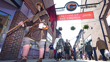Vikings parade along Coppergate Walk, York Photo Anthony Chappell-Ross
