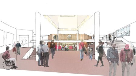 An artist impression of the new foyer planned for West Yorkshire Playhouse in Leeds Artwork: Page Pa