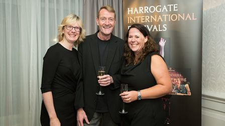 Lee Child with Festival chairman Fiona Movley and Festival CEO, Sharon Canavar