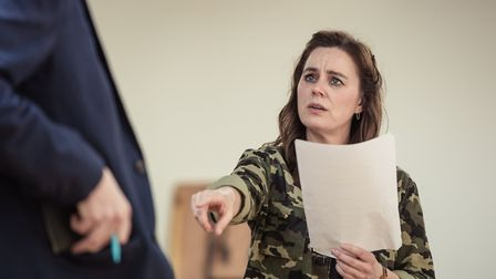Jill Halfpenny in rehearsal for The Girl on The Train at the West Yorkshire Playhouse