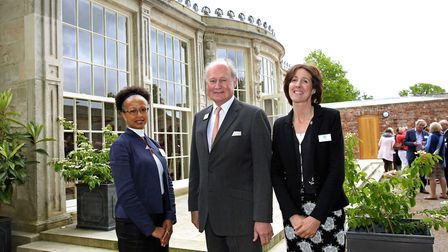 Architect Susan Amaku with Richard and Lucinda Compton outside the newly restored orangery at Newby