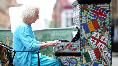 Taking time out to tinkle the ivories during Me and My Piano