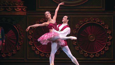 Javier Torres as the Cavalier with Lucia Solari as the Sugar Plum Fairy in The Nutcracker Photo: Emm