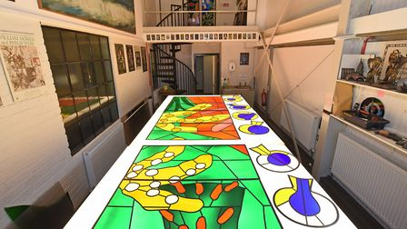 Panels of the new Queen's Window at Barley Studio, York destined for Westminster Abbey