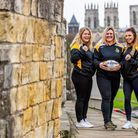 Bethany Lambert, Ashley Hyde and Bev Langan, members of York City Knights Rugby League Club on York