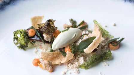 Something different: Whitby crab stick, avaocado ice cream and seashore vegetables Photo: Andy Bulme