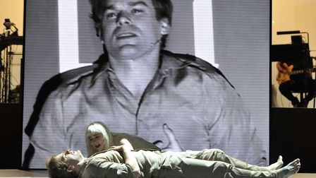 Michael C Hall as Newton and Sophie Anne Caruso as Girl in David Bowie and Enda Walsh's Lazarus dire