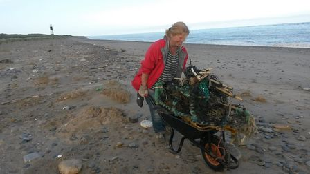 Beach cleaning at Spurn Point