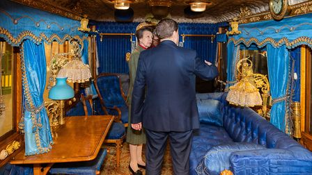 Princess Anne visits the newly restored Queen Victoria's royal saloon carriage