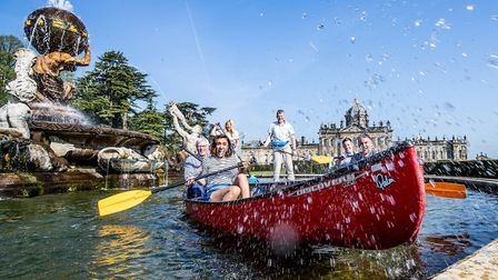 The Countryfile crew makes at splash on the lake at Castle Howard (C) BBC Countryfile Live - Charl