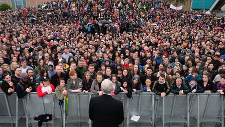 Labour Leader Jeremy Corbyn delivers a speech to crowds numbering in their thousands at a rally (Pho