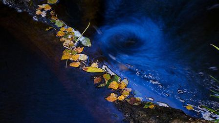 A mini whirlpool and fallen leaves in a beck near Dalby Forest.