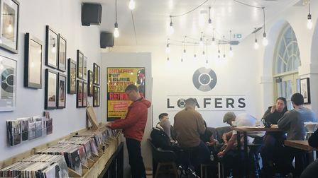 Loafers vinyl and coffee store in the Piece Hall, Harrogate