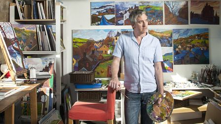 Artist Chris Cyprus in his studio