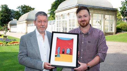 Peter Clark from Graysons Solicitors along with artist Alan Pennington prepare for the annual Art in the Gardens event...